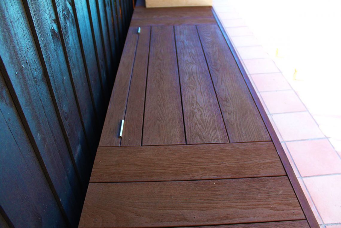 Millboard composite decking pool deck and seating in Mount Waverley, Melbourne